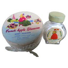 Vintage Rare Full Box & Bottle 1950's - 60's Lander Sachet Glass Bottle & French Apple Blossom Body Powder New York