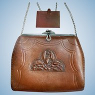 1920's Arts & Crafts Embossed Leather Handbag Art Deco Purse by Wyeth