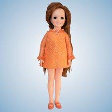 1969 Ideal Crissy / Chrissy Growing Hair Doll Original Orange Dress & Shoes