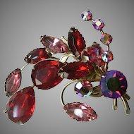 Vintage Red Aurora Borealis and Red / Pink Rhinestone Spray Pin Brooch