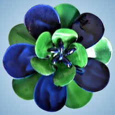 Vintage 1960's Enamel Flower Pin Cobalt Blue & Emerald Green