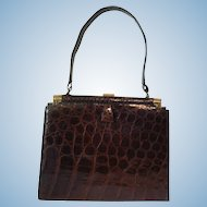 Elegant Kelly Style Vintage Alligator Purse Handbag Cognac Color