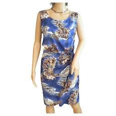 "Vintage 1970s Rayon ""Hilo Hattie Hawaiian Original"" Wrap Dress Royal Blue Tropical Pattern Sz. Medium"