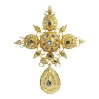 17th Century Gold and Diamond Baroque Cross Pendant, 1650s