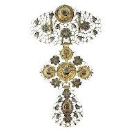 Pre-Victorian Belgian gold diamond à la Jeannette pendant