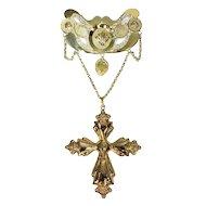 Typical northwestern European (Dutch/Belgian) breast jewel gold filigree pendant - ca. 1820