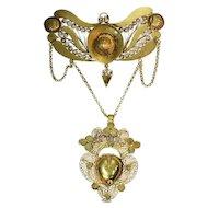 Georgian antique gold filigree breast jewel pendant with heart locket