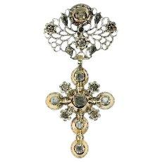 Solid 18 Karat Gold Mid 18th century Cross with Table Cut Diamonds, 1750s