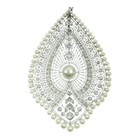 French Natural Pearls & 3.00 Carat Diamond 18 Karat White Gold Pendant Necklace