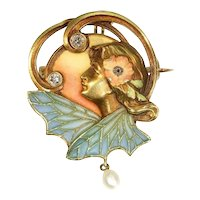 Art Nouveau Plique Ajour Enamel Old Mine Diamond Pearl Lady Wings Pendant Brooch, 1890s