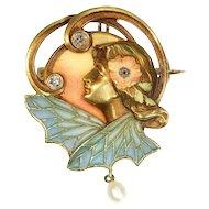 Art Nouveau Gold and Enamel Plique A Jour Brooch Lady Insect Wings c.1890