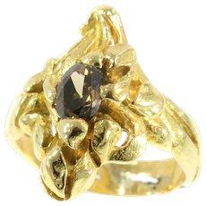 Antique French Art Nouveau Unisex Diamond Yellow Gold Flowery Ring, 1900s - FREE Resizing*