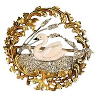 Flowery diamond 18k yellow gold swan brooch - France, ca.1890