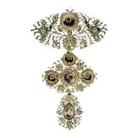 Early 19th century Gold Diamond Pendant Cross also Called A La Jeanette, 1820s
