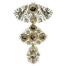 Early 19th century Gold Diamond Pendant Cross also Called A La Jeanette, 1820s