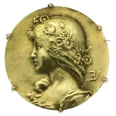Antique gold pin Lady face signed Emile Vernier France - ca. 1890