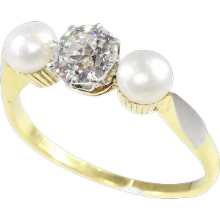 Three Stones Estate Engagement Ring With Diamond And Pearl, 1910s - FREE Resizing*