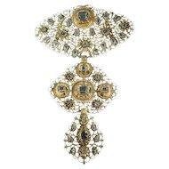 18th Century filigree gold cross pendant with table cut diamonds called A la Jeanette