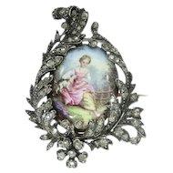 Victorian painted miniature enameled pin diamond