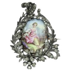 Antique Victorian Painted Miniature Enameled Pin Diamond, 1850s
