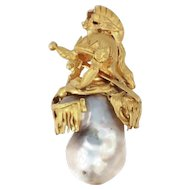 Intriguing Victorian pendant with big baroque pearl and warrior adornments