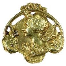 Art Nouveau Floral Gold Pin, Brooch Lady profile, Signed Zacha, 1900s
