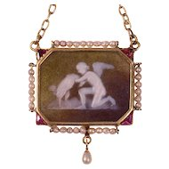Victorian stone cameo pendant on gold chain with mythological motive