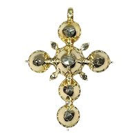 Pre Victorian Antique Gold Cross with Foil Set Rose Cut Diamonds, 1812s