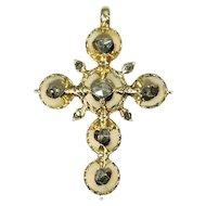 Pre Victorian antique gold cross with foil set rose cut diamonds - ca. 1812