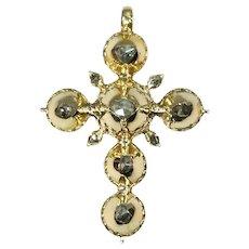 Pre Victorian Antique Gold Cross with Foil Set Rose Cut Diamonds, 1812s