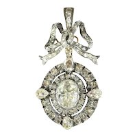 Magnificent Victorian Brooch Pendant with Humungous Rose cut Diamond - 1870s