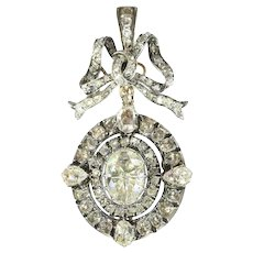 Magnificent Victorian brooch pendant with humungous rose cut diamond - anno 1870