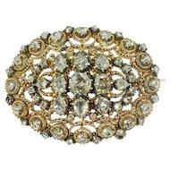 Victorian Dutch brooch in unusual design with filigree and rose cut diamonds