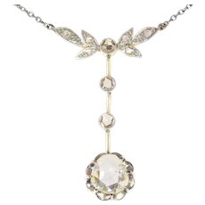 Large Rose Cut Diamond Estate Pendant on Chain Necklace, 1930s