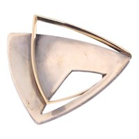 Artist Jewelry by Chris Steenbergen Signed Silver and Gold Brooch, 1956s