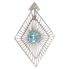 Artist Jewelry by Chris Steenbergen White Gold Pendant with Diamond and Starlite, 1955s