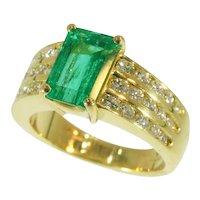 Kutchinsky 2.33 Carat Natural Emerald and Diamond 18 Karat Yellow Gold Ring