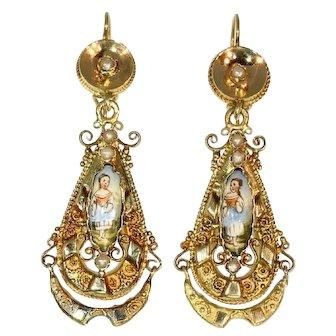 18K gold Biedermeier earrings long pendant Victorian earrings with enamel - anno 1850