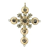 Antique Belgian Georgian Gold Cross Pendant with Old Table Cut Rose Cut Diamonds, 1815s