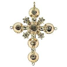 Antique Belgian Georgian gold cross pendant with old table cut rose cut diamonds - ca. 1815