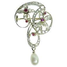 Art Nouveau brooch with diamonds and rubies Jugendstil