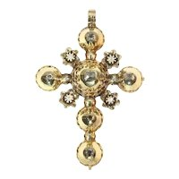 Antique Belgian 18 Karat Gold Cross Pendant with Old Table Cut Diamonds, 1815s