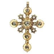 Antique Belgian gold cross pendant with old table cut rose cut diamonds - ca. 1815