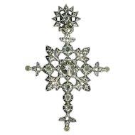 Antique Victorian cross with rose cut diamonds - ca. 1870