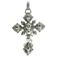 Early Victorian antique gold backed silver rose cut diamonds cross - ca. 1830