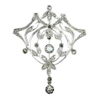 Antique Belle Epoque diamond brooch pendant - ca. 1890