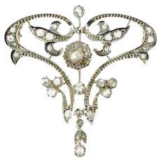Art Nouveau diamond brooch and pendant