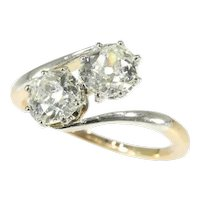 Belle Epoque Toi and Moi Engagement Ring with Two Certificate One Carat Diamonds, 1900s - FREE Resizing*