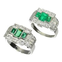 Unique Ring Pair of a Platinum Art Deco Original with Emeralds and Diamonds and its Dummy Model, 1950s - FREE Resizing*