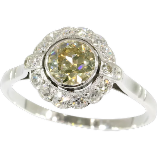 Fifties White Gold Champagne Colored Diamond Engagement Ring, 1950s - FREE Resizing*